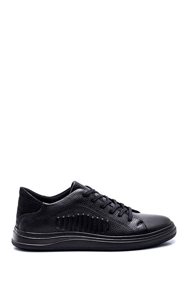 Siyah Erkek Çizgi Detaylı Deri Sneaker 5638318877
