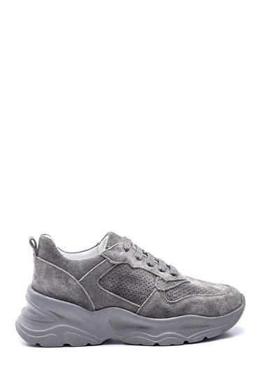 Gri Kadın Deri Süet Sneaker 5638295126