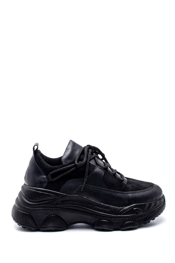 Siyah Kadın Süet Detaylı Sneaker 5638343680