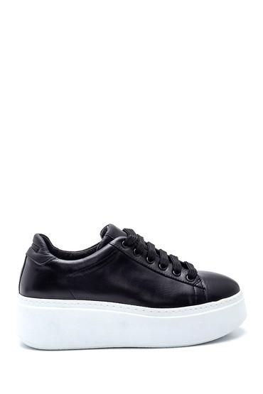 Siyah Kadın Platform Deri Sneaker 5638344617