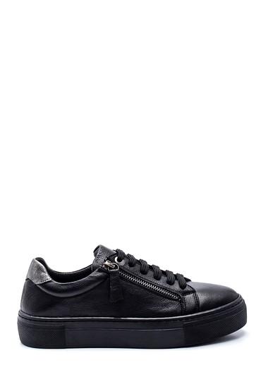Siyah Kadın Fermuarlı Deri Sneaker 5638344637