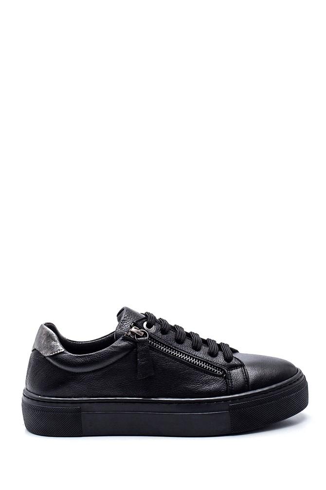 Siyah Kadın Deri Fermuarlı Sneaker 5638344637