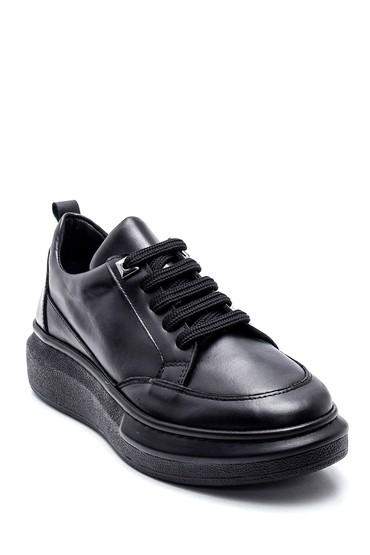 Siyah Kadın Deri Sneaker 5638346087