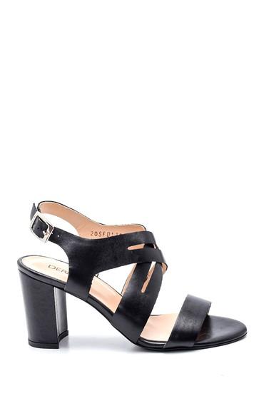 Siyah Kadın Topuklu Deri Sandalet 5638161957