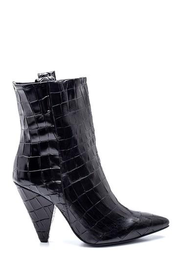 Siyah Kadın Deri Kroko Topuklu Bot 5638234466