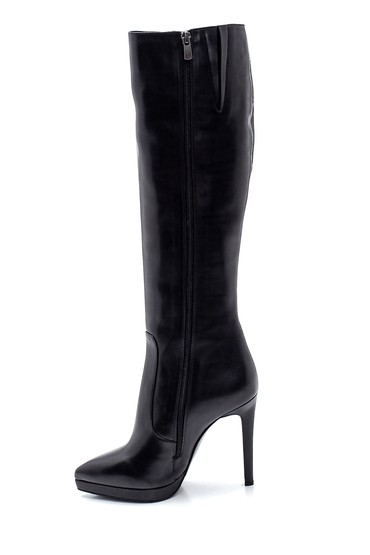 Siyah Kadın Deri Topuklu Çizme 5638297961