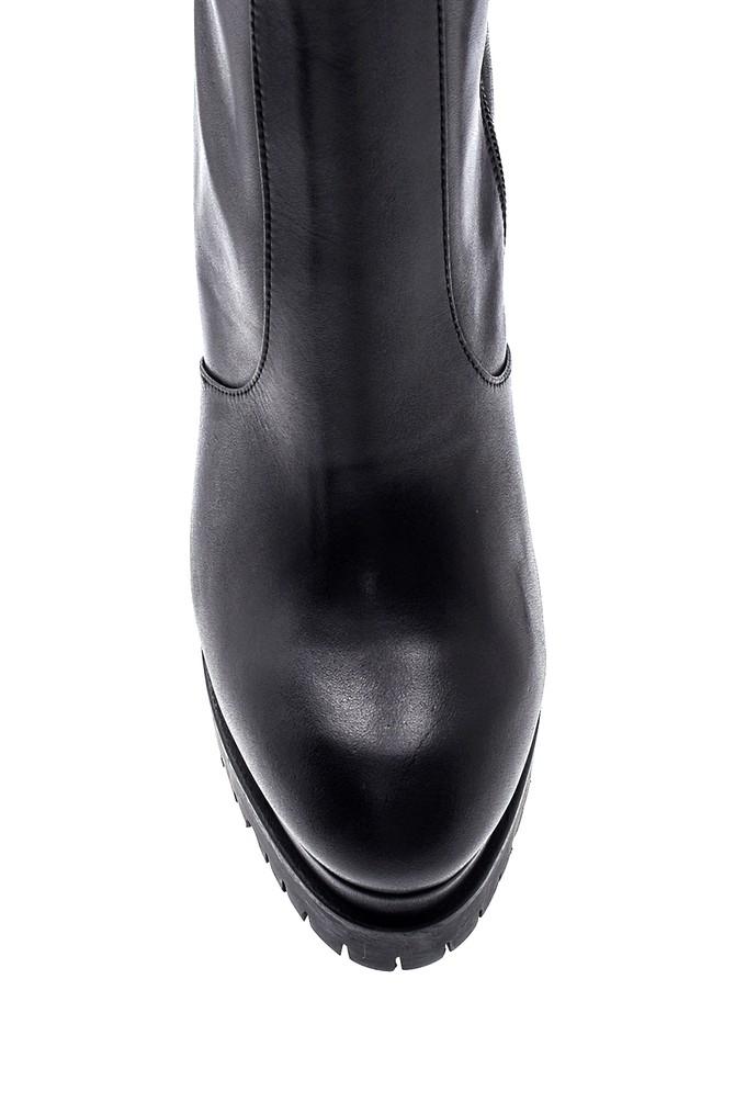 5638297981 Kadın Deri Platform Topuklu Çizme