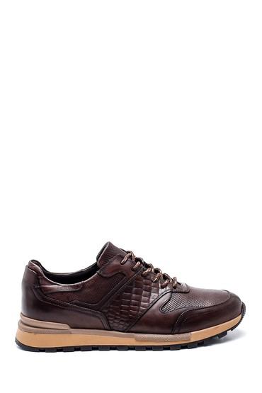 Kahverengi Erkek Kroko Detaylı Deri Sneaker 5638311844