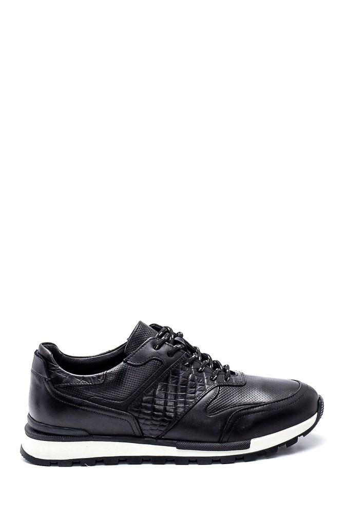 Siyah Erkek Kroko Detaylı Deri Sneaker 5638311869