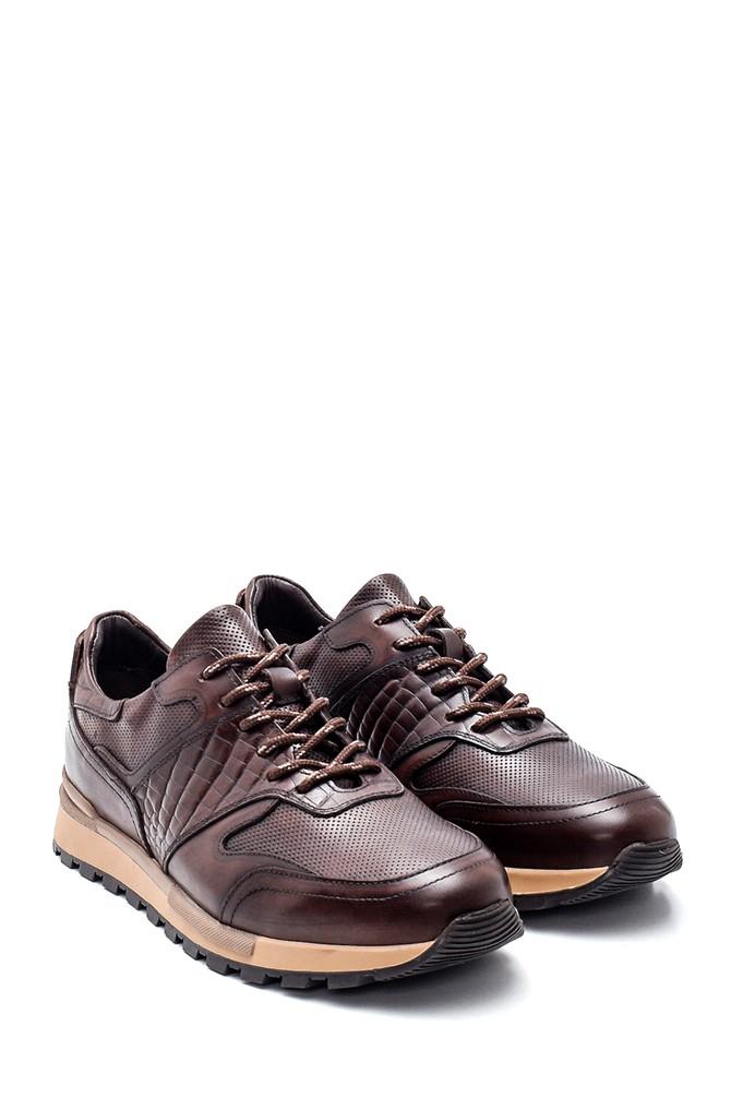 5638311844 Erkek Kroko Detaylı Deri Sneaker