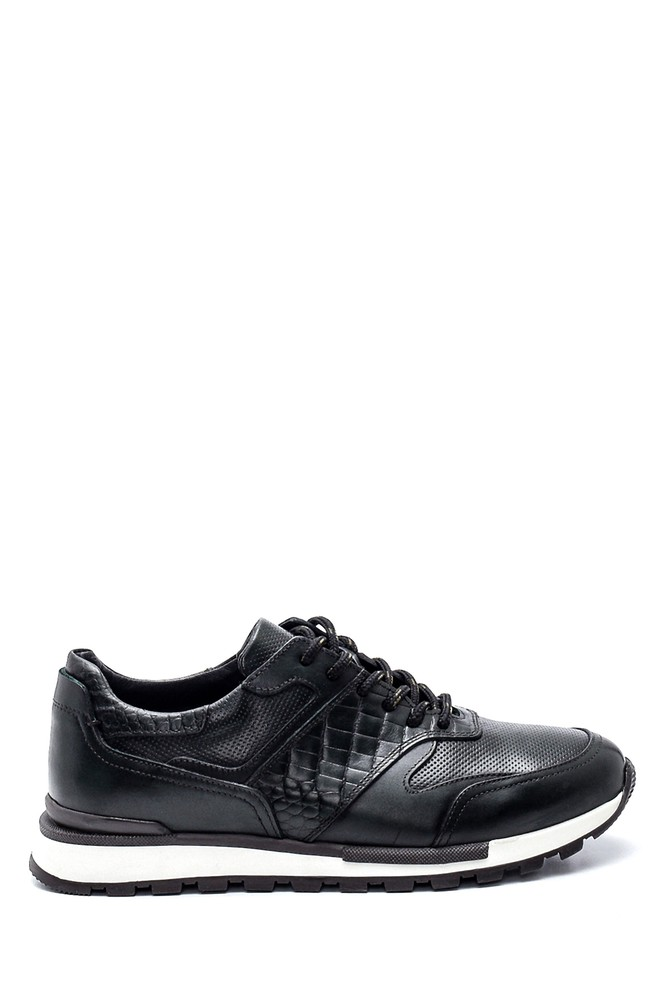 Yeşil Erkek Deri Kroko Detaylı Sneaker 5638311847