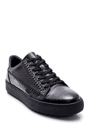 Siyah Erkek Deri Kroko Sneaker 5638311942