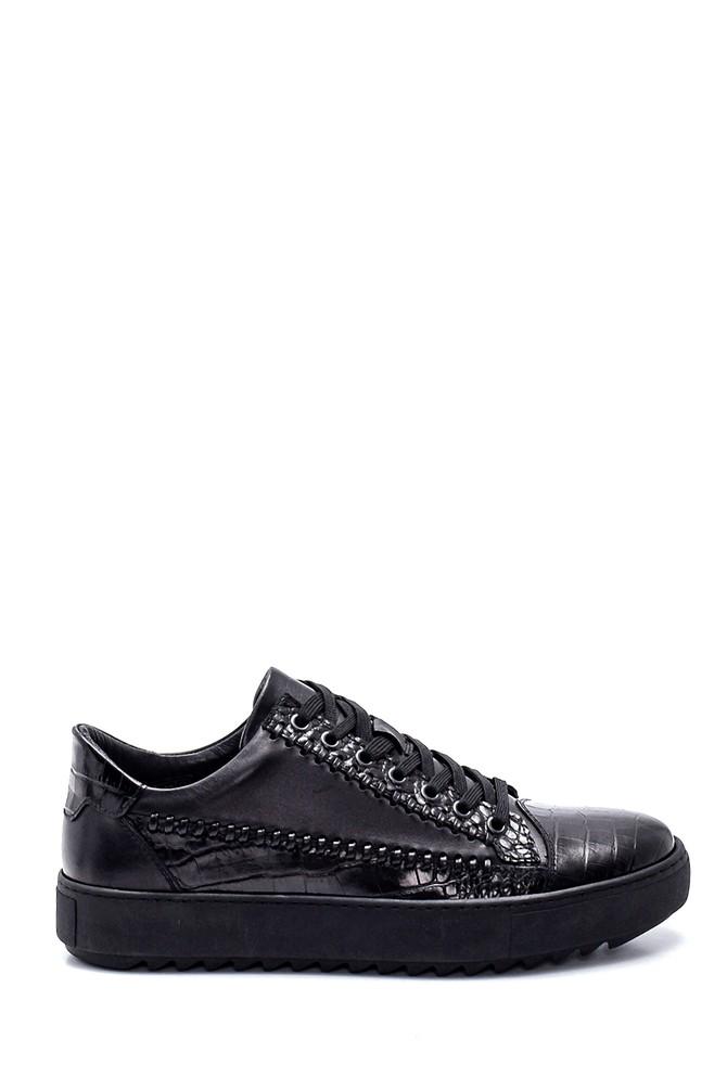 Siyah Erkek Deri Kroko Sneaker 5638311952