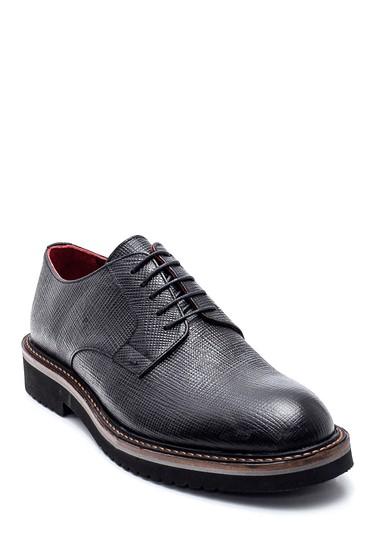 Siyah Erkek Deri Baskılı Ayakkabı 5638314625