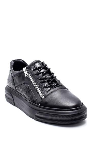 Siyah Erkek Deri Fermuar Detaylı Sneaker 5638317577