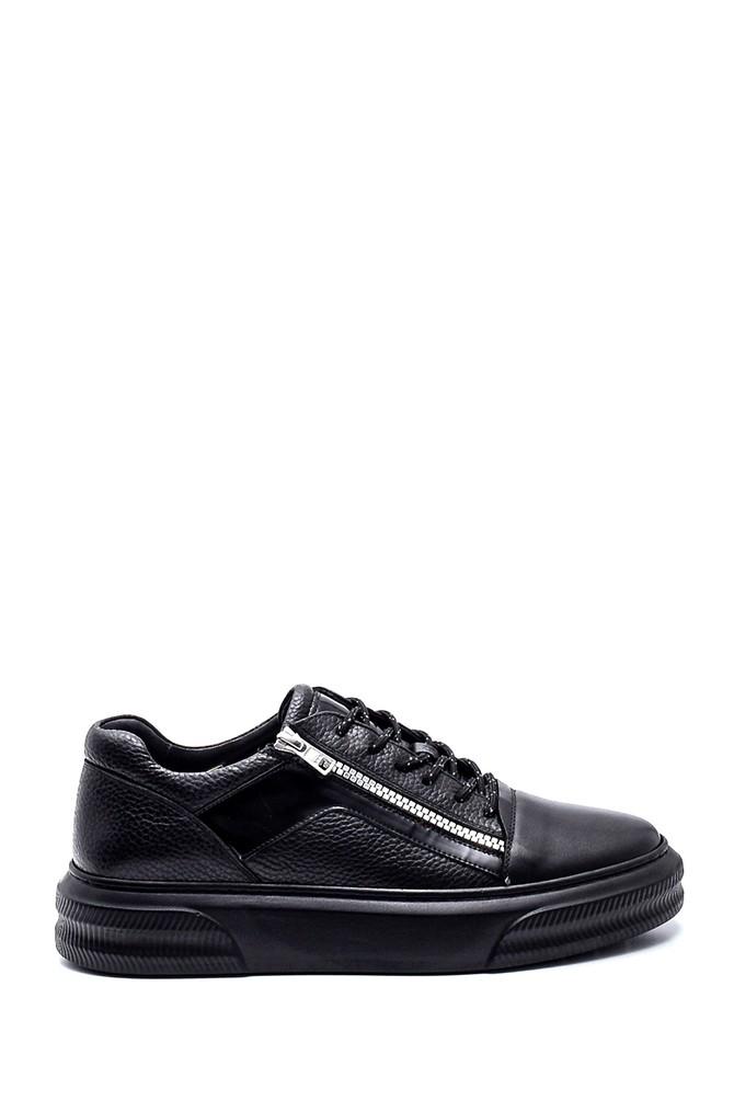 Siyah Erkek Deri Fermuar Detaylı Sneaker 5638317587