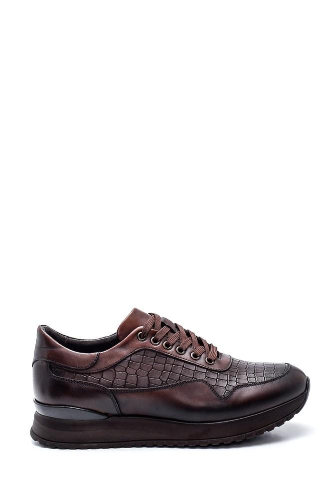 Kahverengi Erkek Kroko Deri Sneaker 5638317627