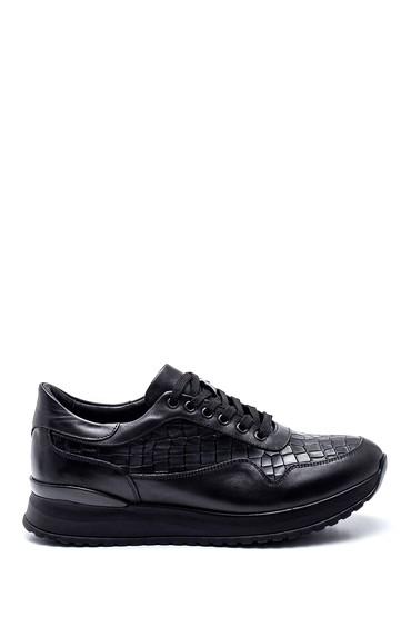 Siyah Erkek Kroko Deri Sneaker 5638317628