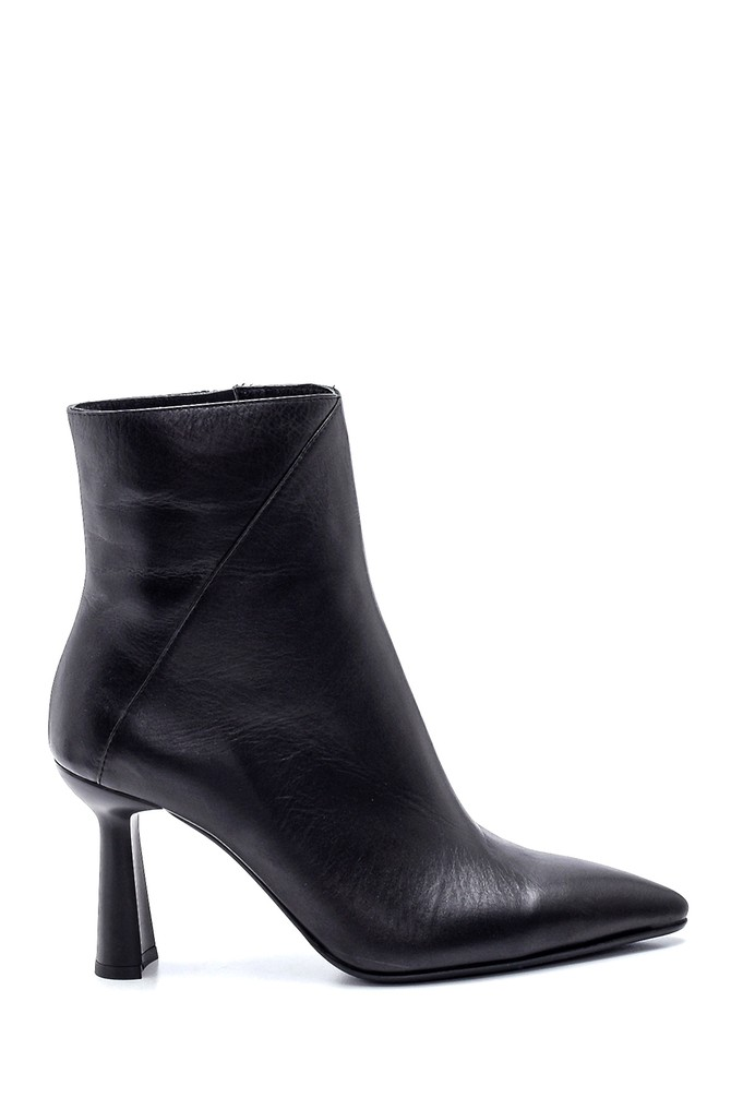 Siyah Kadın Topuklu Deri Bot 5638330724