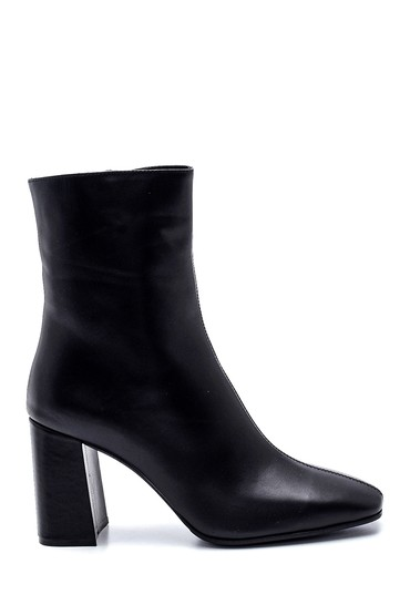 Siyah Kadın Deri Topuklu Bot 5638330754