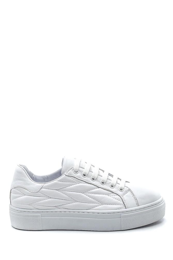 Beyaz Kadın Deri Desenli Sneaker 5638344656