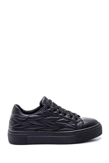 Siyah Kadın Desenli Deri Sneaker 5638344658