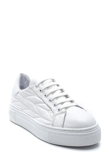 Beyaz Kadın Desenli Deri Sneaker 5638344656