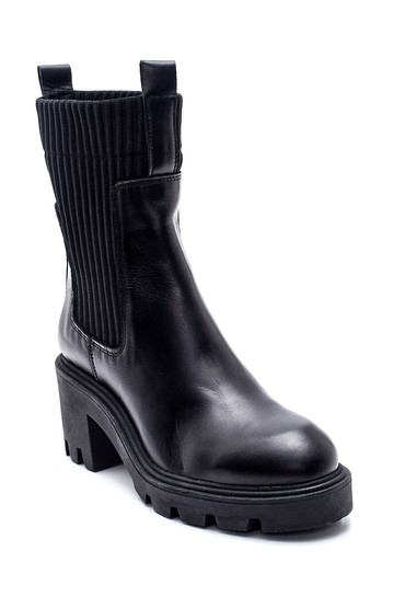 Siyah Kadın Deri Topuklu Bot 5638306967