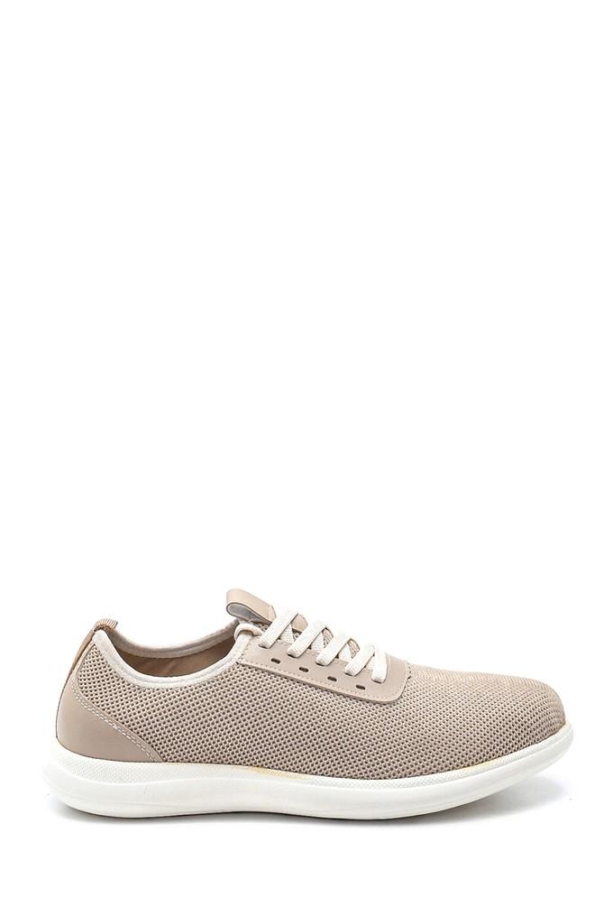 Bej Erkek Deri Detaylı Çorap Sneaker 5638245968