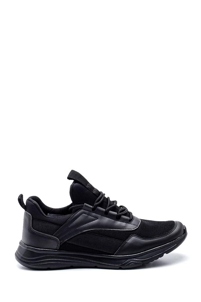 Siyah Erkek Deri Detaylı Sneaker 5638320069