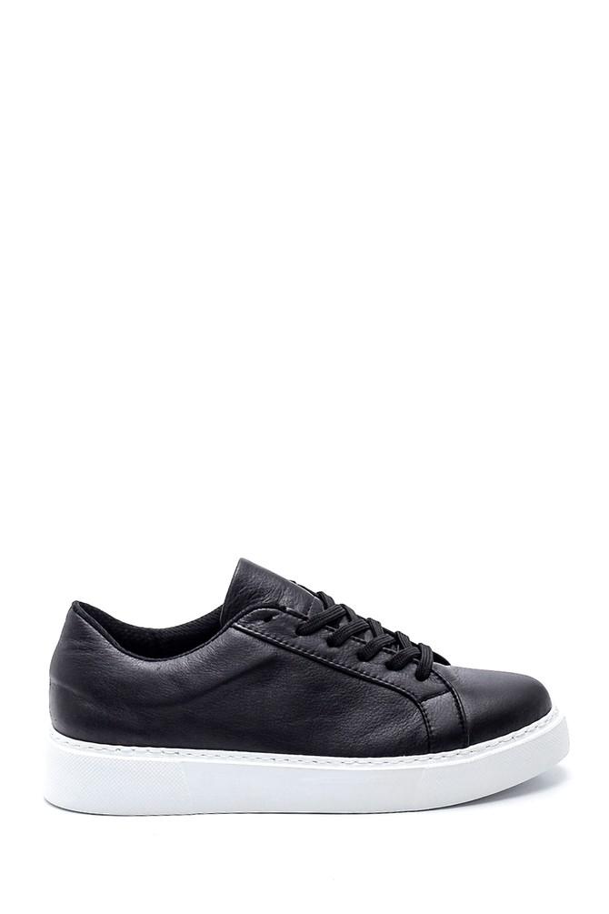 Siyah Kadın Deri Casual Sneaker 5638335715