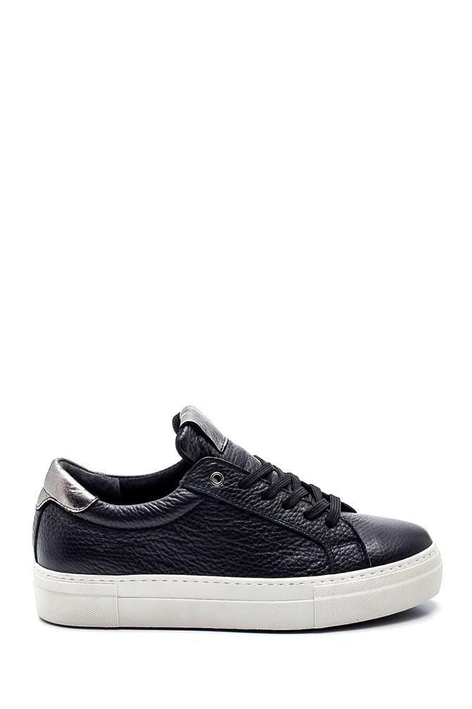 Siyah Kadın Deri Casual Sneaker 5638335754