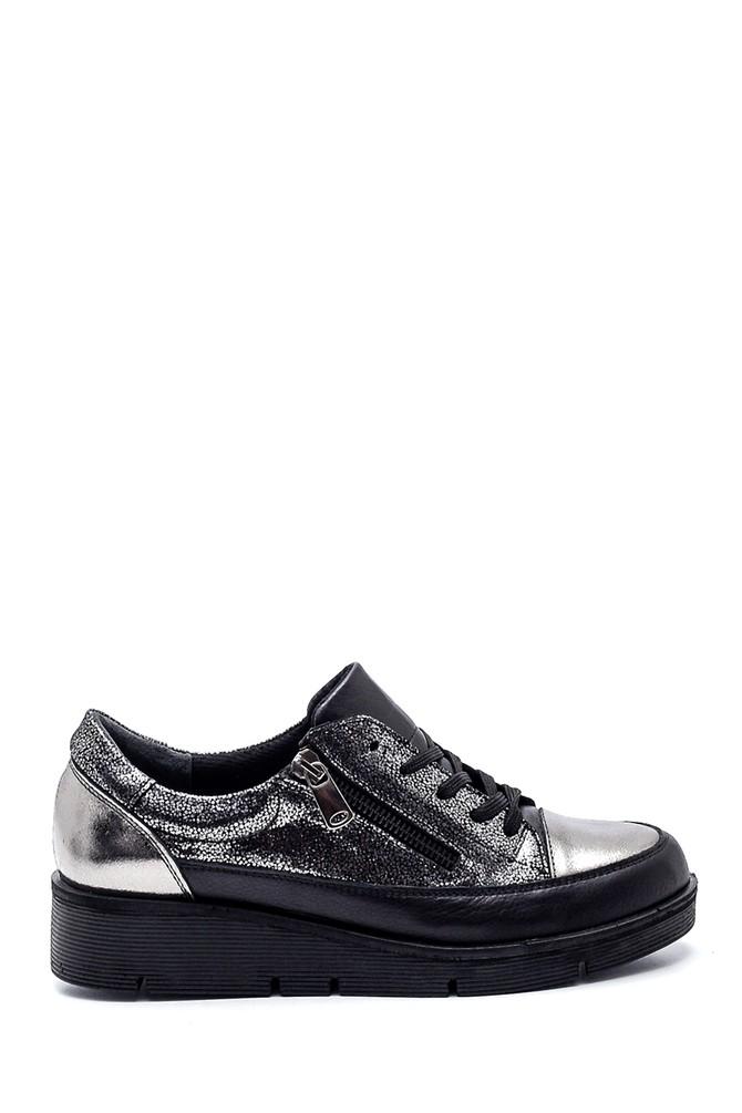 Siyah Kadın Deri Fermuarlı Sneaker 5638335803