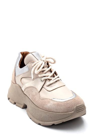 Bej Kadın Deri  Süet Deyatlı Sneaker 5638330558