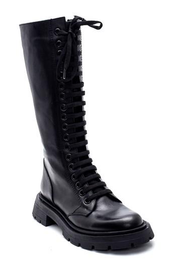 Siyah Kadın Deri Boğcıklı Çizme 5638316330