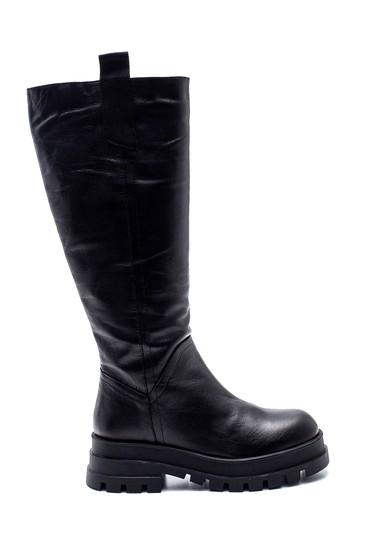 Siyah Kadın Deri Fermuarlı Çizme 5638306762