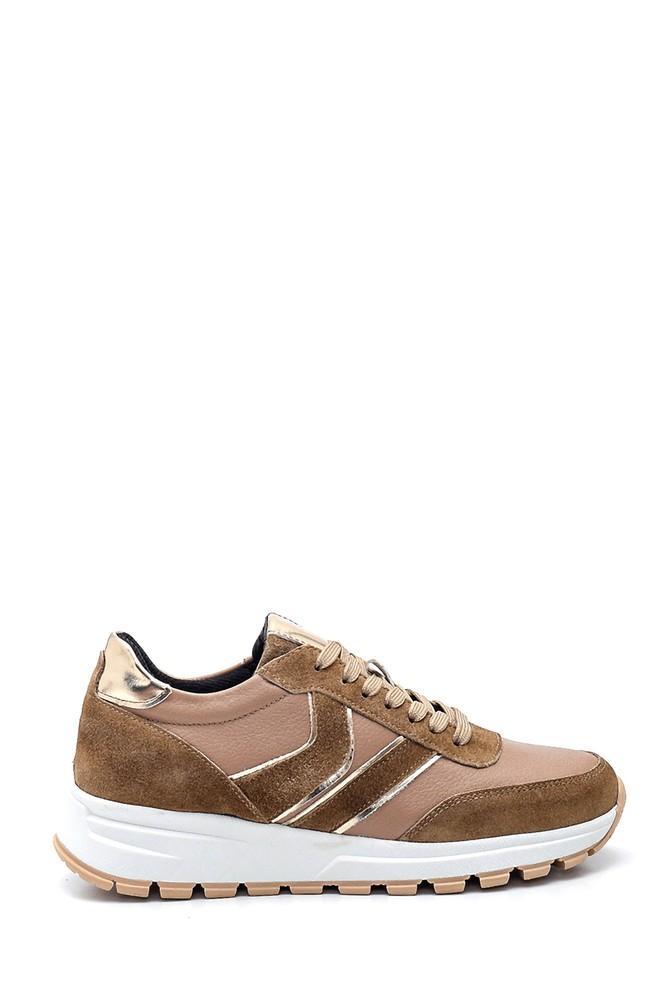 Vizon Kadın Deri Süet Detaylı Sneaker 5638328117