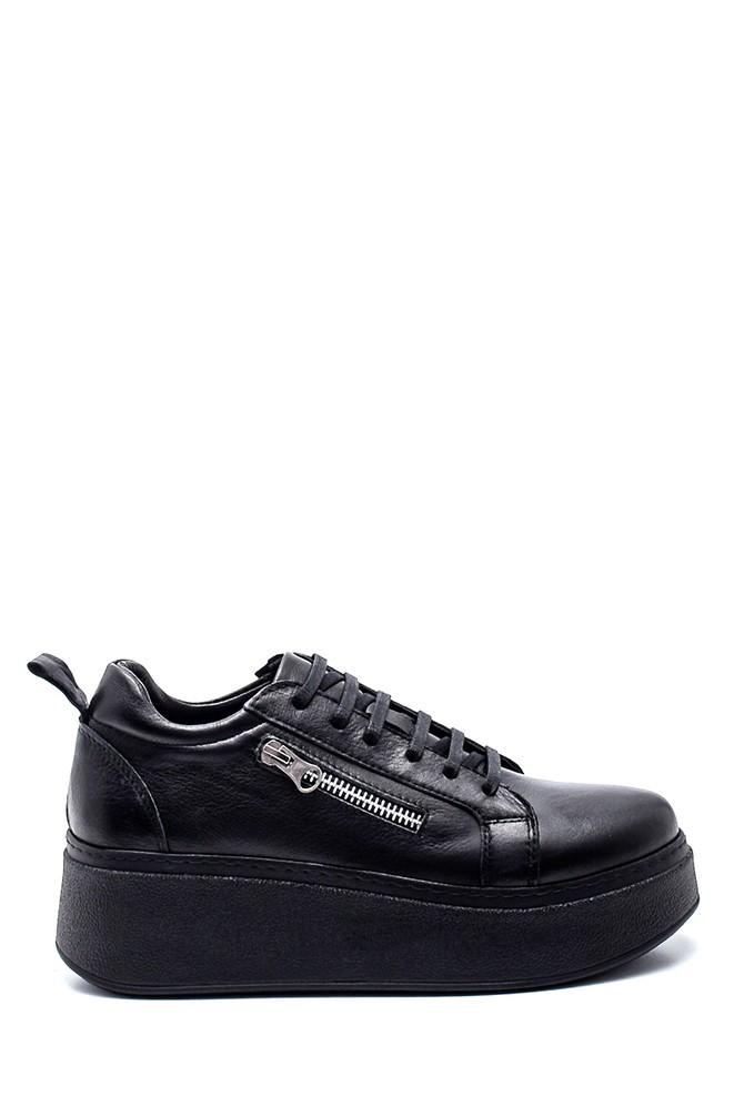 Siyah Kadın Deri Fermuar Detaylı Sneaker 5638334981