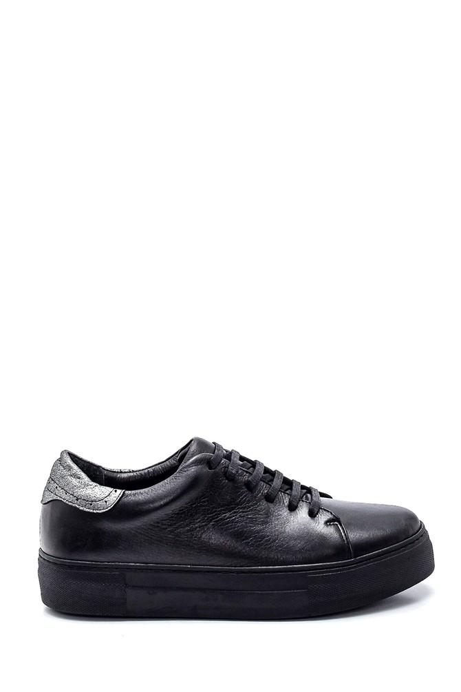 Siyah Kadın Deri Sneaker 5638334961