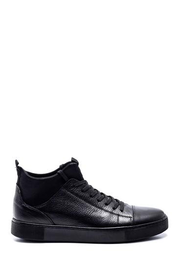 Siyah Erkek Deri Boğazlı Sneaker 5638313471