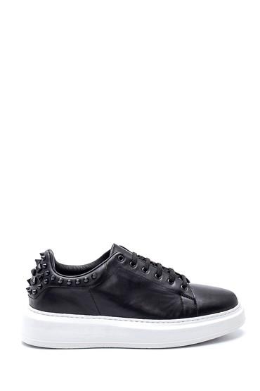 Siyah Erkek Deri Boncuklu Sneaker 5638347889