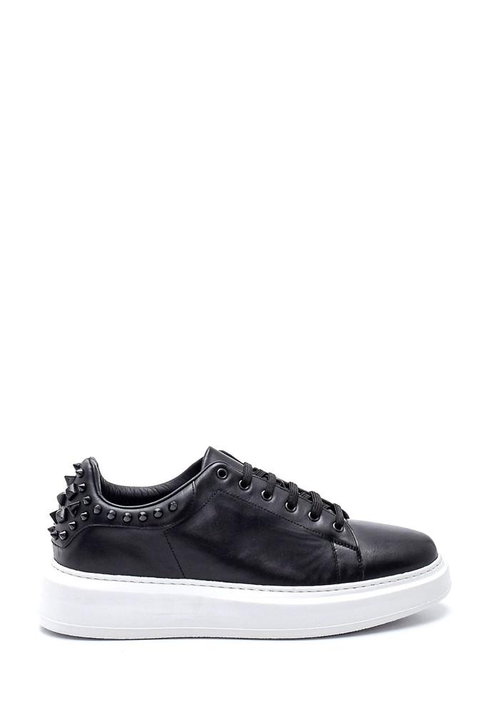 Siyah Erkek Deri Zımba Detaylı Sneaker 5638347891