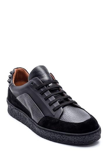 Siyah Erkek Deri Boncuklu Sneaker 5638348036
