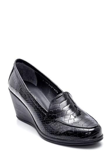 Siyah Kadın Baskılı Dolgu Topuk Ayakkabı 5638346386