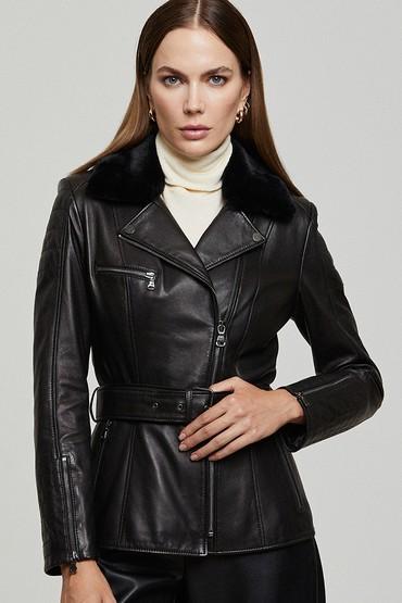 Siyah Mayfair Kadın Deri Ceket 5638123327