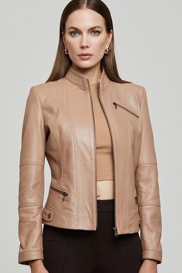 Kahverengi Donna Kadın Deri Ceket 5638349433