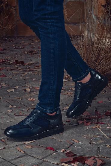 Lacivert Erkek Deri Sneaker 5638331913