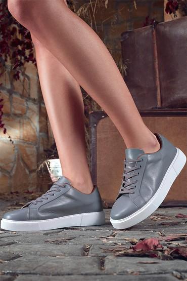 Gri Kadın Deri Casual Sneaker 5638335714