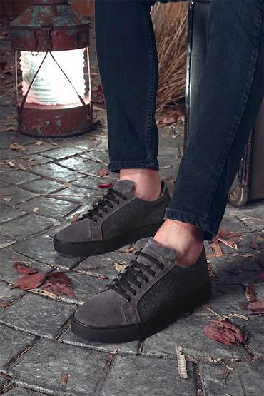 Gri Erkek Süet Deri Sneaker 5638348020