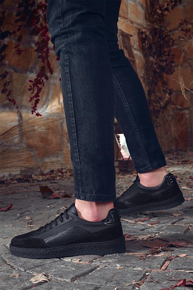 Siyah Erkek Deri Zımba Detaylı Sneaker 5638348042